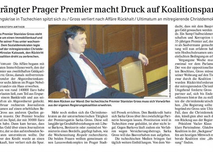 Bedrängter Prager Premier macht Druck auf Koalitionspartner